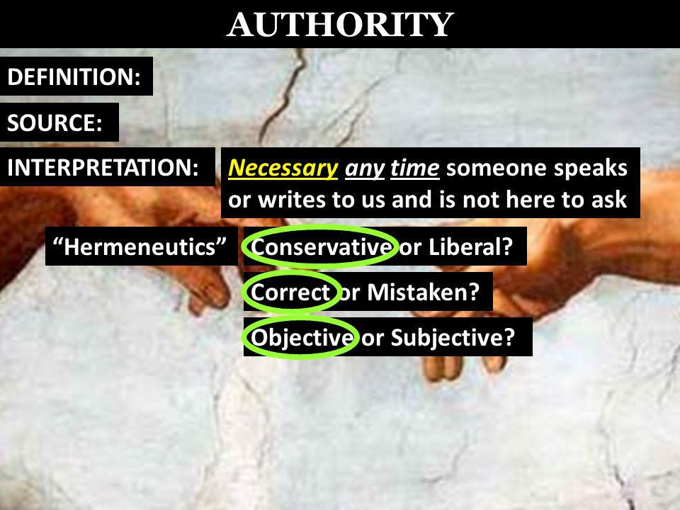 AUTHORITY DEFINITION: SOURCE: Necessary any time someone speaks or writes to us and is not here to ask INTERPRETATION: HermeneuticsConservative or Liberal.