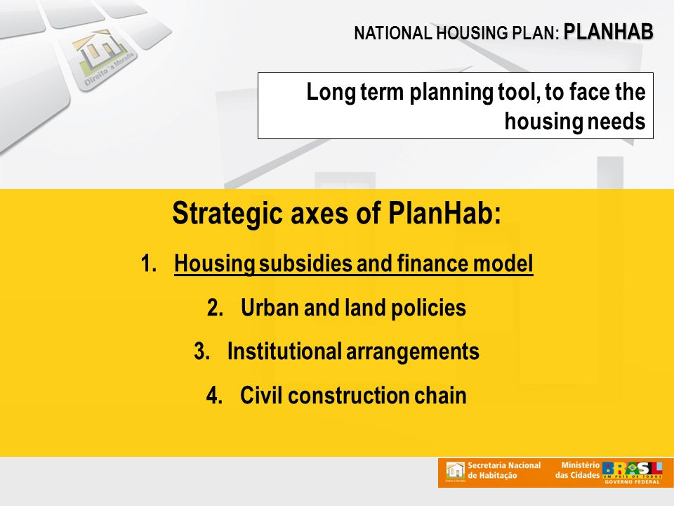 PLANHAB NATIONAL HOUSING PLAN: PLANHAB Long term planning tool, to face the housing needs Strategic axes of PlanHab: 1.Housing subsidies and finance model 2.Urban and land policies 3.Institutional arrangements 4.Civil construction chain