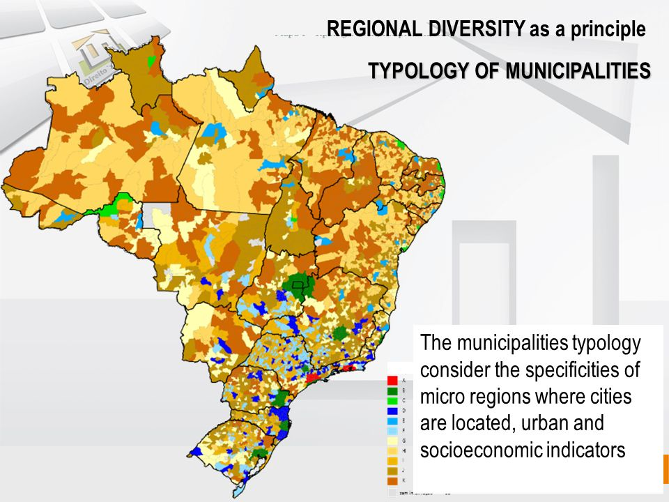 TYPOLOGY OF MUNICIPALITIES REGIONAL DIVERSITY as a principle The municipalities typology consider the specificities of micro regions where cities are located, urban and socioeconomic indicators