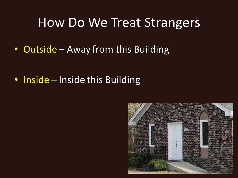 How Do We Treat Strangers Outside – Away from this Building Inside – Inside this Building