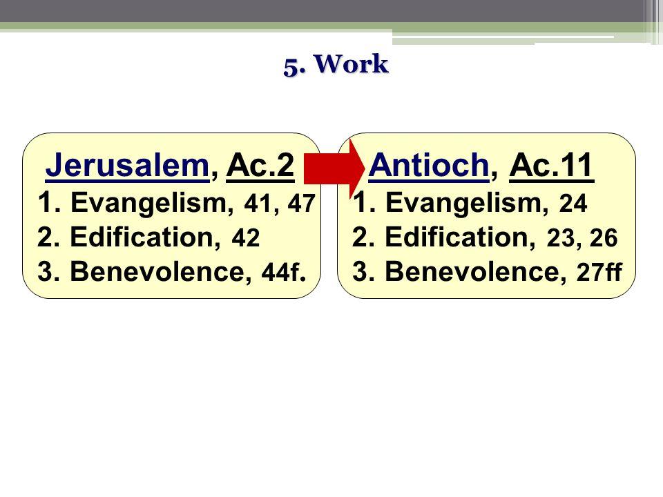 5. Work Jerusalem, Ac.2 1. Evangelism, 41, 47 2.