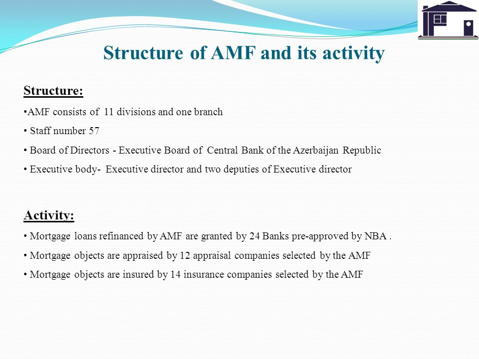 Structure of AMF and its activity Structure: AMF consists of 11 divisions and one branch Staff number 57 Board of Directors - Executive Board of Centr