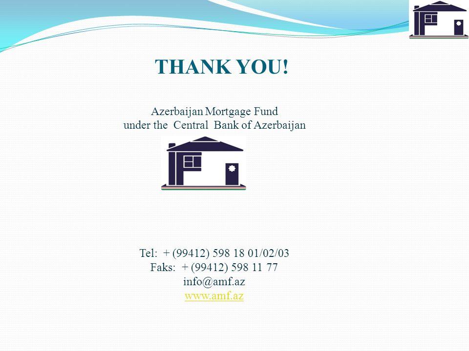 Tel: + (99412) 598 18 01/02/03 Faks: + (99412) 598 11 77 info@amf.az www.amf.az Azerbaijan Mortgage Fund under the Central Bank of Azerbaijan THANK YOU!