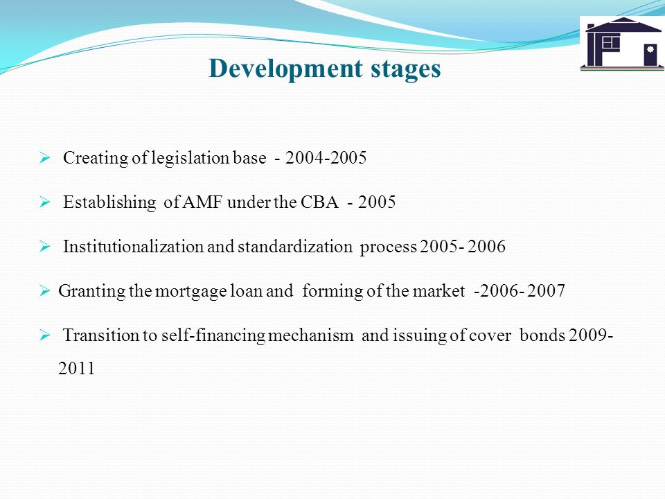 Development stages Creating of legislation base - 2004-2005 Establishing of AMF under the CBA - 2005 Institutionalization and standardization process