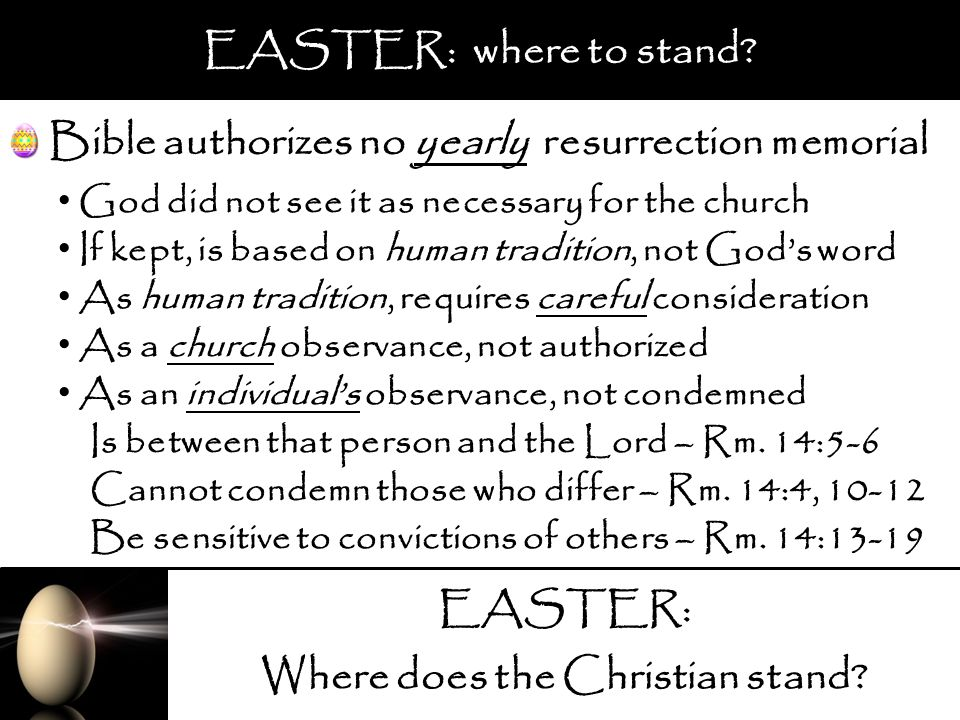 EASTER: Where does the Christian stand? EASTER: where to stand? Bible authorizes no yearly resurrection memorial God did not see it as necessary for t