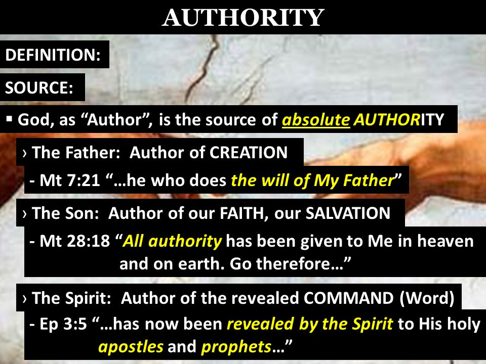 AUTHORITY God, as Author, is the source of absolute AUTHORITY DEFINITION: SOURCE: God-revealed word: how He chose to express His authority Hebrews 1:1-2:God has spoken 2 Timothy 3:16All Scripture is God-breathed