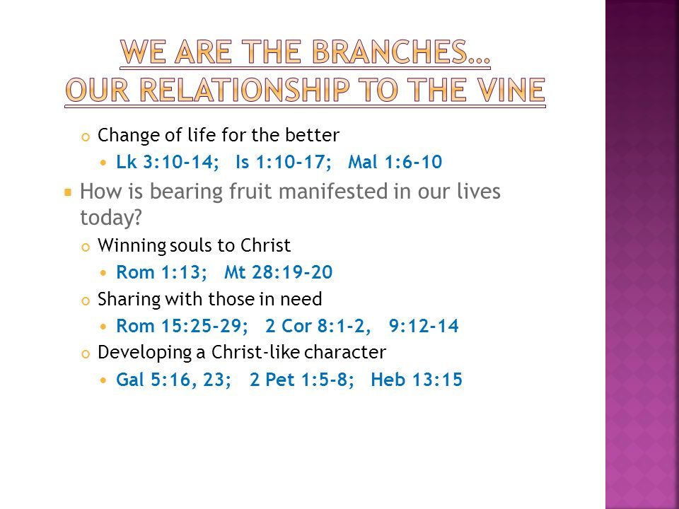 Change of life for the better Lk 3:10-14; Is 1:10-17; Mal 1:6-10 How is bearing fruit manifested in our lives today.