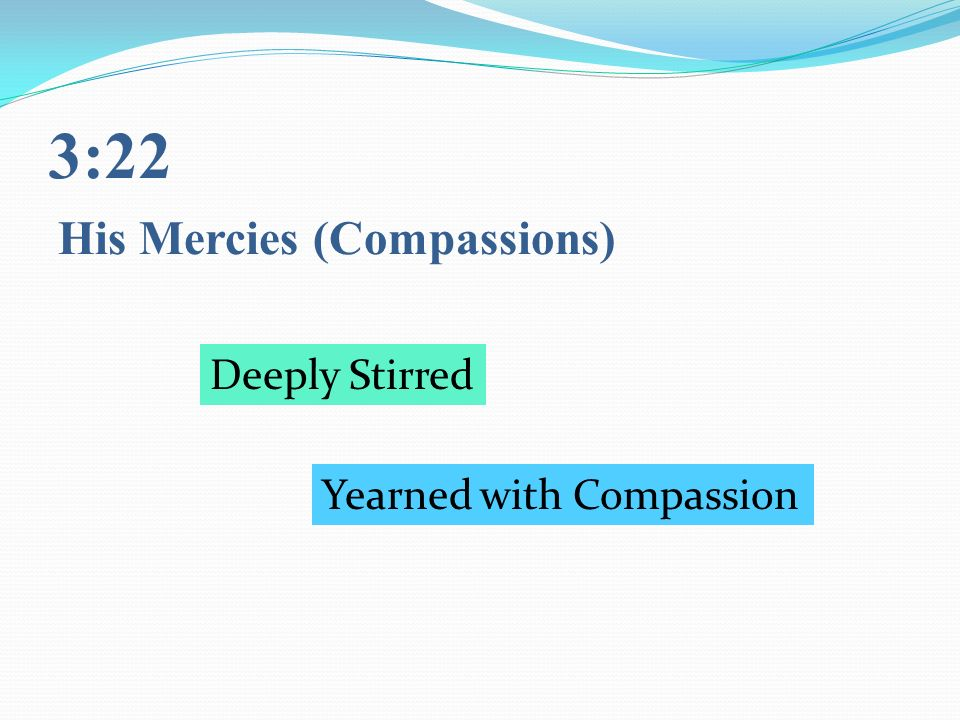 3:22 His Mercies (Compassions) Deeply Stirred Yearned with Compassion
