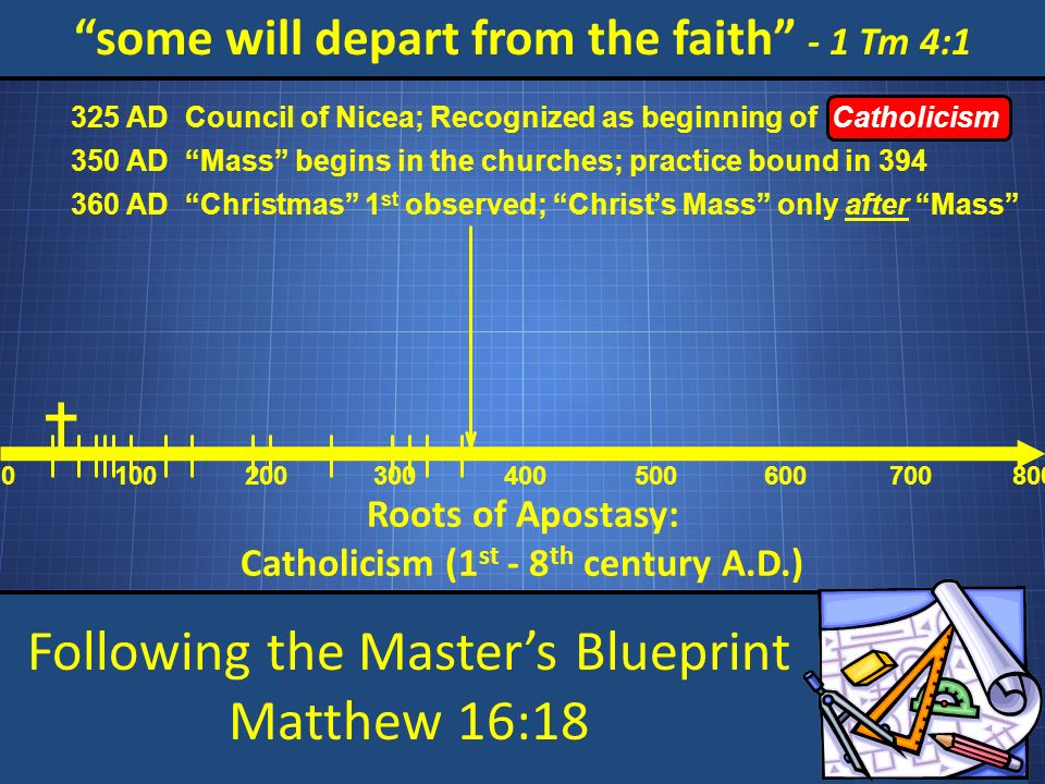 Following the Masters Blueprint Matthew 16:18 some will depart from the faith - 1 Tm 4:1 Roots of Apostasy: Catholicism (1 st - 8 th century A.D.) 0 100200 300 400 500 600 700800 Council of Nicea; Recognized as beginning of Catholicism 325 AD Mass begins in the churches; practice bound in 394 350 AD Christmas 1 st observed; Christs Mass only after Mass 360 AD