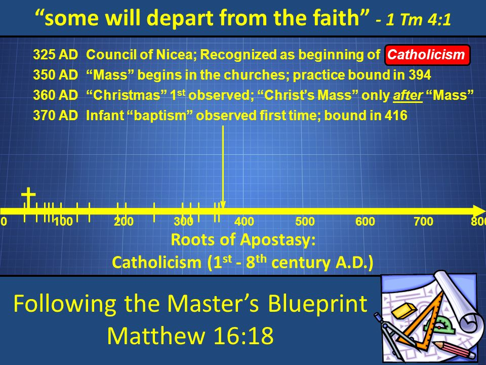 Following the Masters Blueprint Matthew 16:18 some will depart from the faith - 1 Tm 4:1 Roots of Apostasy: Catholicism (1 st - 8 th century A.D.) 0 100200 300 400 500 600 700800 Council of Nicea; Recognized as beginning of Catholicism 325 AD Mass begins in the churches; practice bound in 394 350 AD Christmas 1 st observed; Christs Mass only after Mass 360 AD Infant baptism observed first time; bound in 416 370 AD