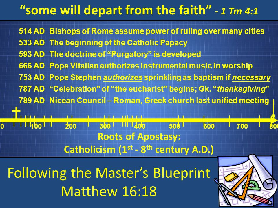 Following the Masters Blueprint Matthew 16:18 some will depart from the faith - 1 Tm 4:1 Roots of Apostasy: Catholicism (1 st - 8 th century A.D.) 0 100200 300 400 500 600 700800 Bishops of Rome assume power of ruling over many cities 514 AD The beginning of the Catholic Papacy 533 AD The doctrine of Purgatory is developed 593 AD Pope Vitalian authorizes instrumental music in worship 666 AD Pope Stephen authorizes sprinkling as baptism if necessary 753 AD Celebration of the eucharist begins; Gk.