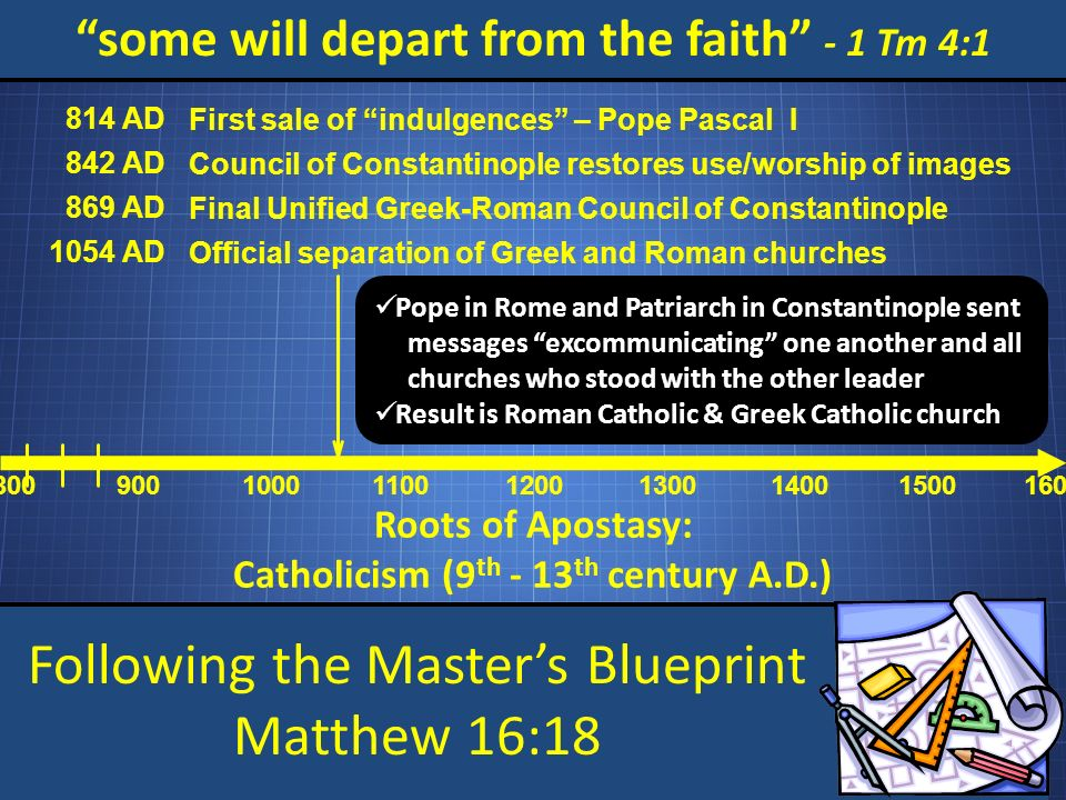 Following the Masters Blueprint Matthew 16:18 some will depart from the faith - 1 Tm 4:1 Roots of Apostasy: Catholicism (9 th - 13 th century A.D.) 800 900 1000 1100 1200 1300 1400 15001600 814 AD First sale of indulgences – Pope Pascal I 842 AD Council of Constantinople restores use/worship of images 869 AD Final Unified Greek-Roman Council of Constantinople 1054 AD Official separation of Greek and Roman churches Pope in Rome and Patriarch in Constantinople sent messages excommunicating one another and all churches who stood with the other leader Result is Roman Catholic & Greek Catholic church