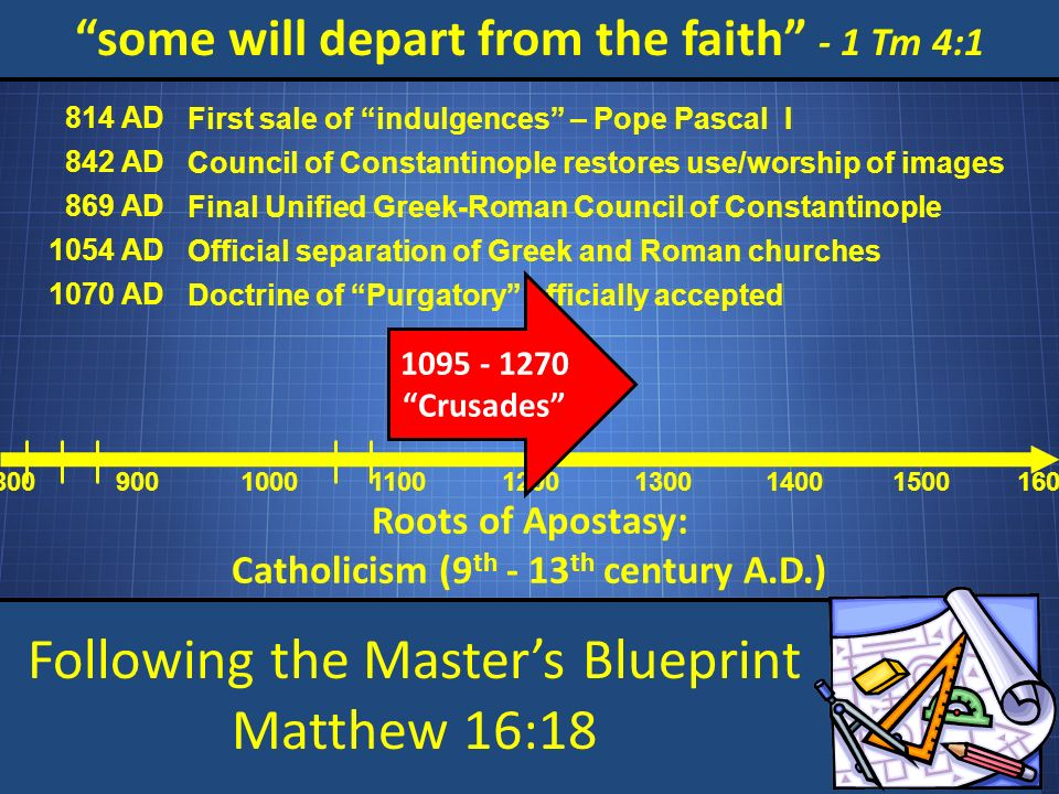 Following the Masters Blueprint Matthew 16:18 some will depart from the faith - 1 Tm 4:1 Roots of Apostasy: Catholicism (9 th - 13 th century A.D.) 800 900 1000 1100 1200 1300 1400 15001600 814 AD First sale of indulgences – Pope Pascal I 842 AD Council of Constantinople restores use/worship of images 869 AD Final Unified Greek-Roman Council of Constantinople 1054 AD Official separation of Greek and Roman churches 1070 AD Doctrine of Purgatory officially accepted 1095 - 1270 Crusades