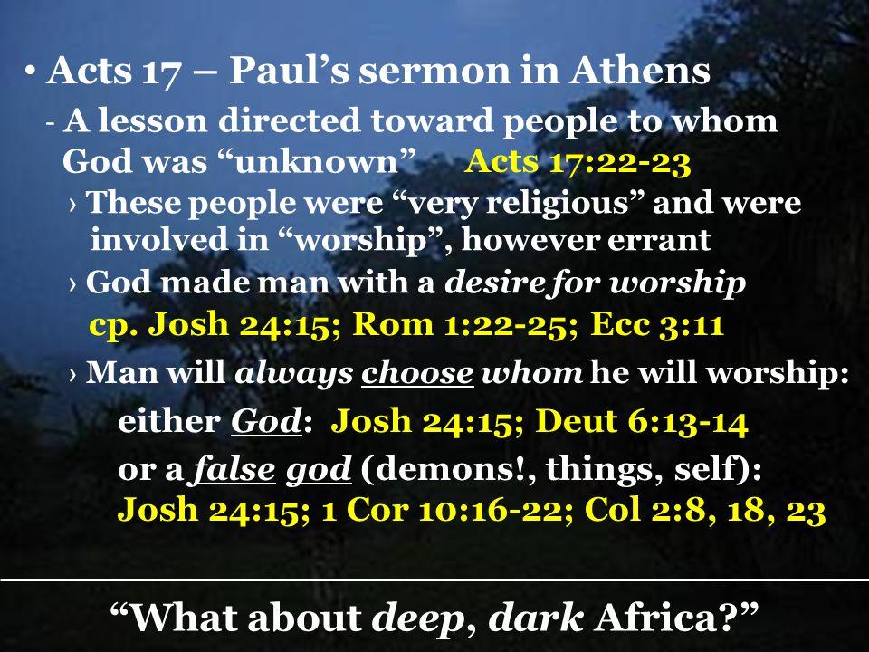 What about deep, dark Africa.