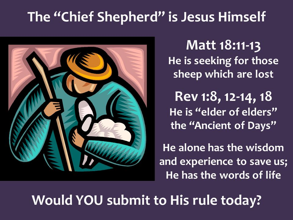 The Chief Shepherd is Jesus Himself Matt 18:11-13 He is seeking for those sheep which are lost Rev 1:8, 12-14, 18 He is elder of elders the Ancient of Days He alone has the wisdom and experience to save us; He has the words of life Would YOU submit to His rule today