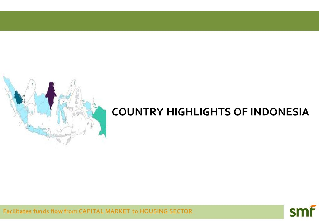 Facilitates funds flow from CAPITAL MARKET to HOUSING SECTOR COUNTRY HIGHLIGHTS OF INDONESIA Indonesia is the biggest archipelago country in South East Asia comprising of 17.504 islands.