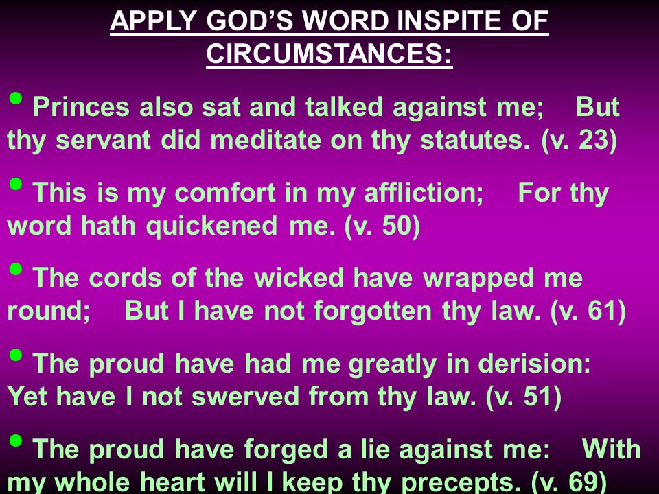 APPLY GODS WORD INSPITE OF CIRCUMSTANCES: Princes also sat and talked against me; But thy servant did meditate on thy statutes.