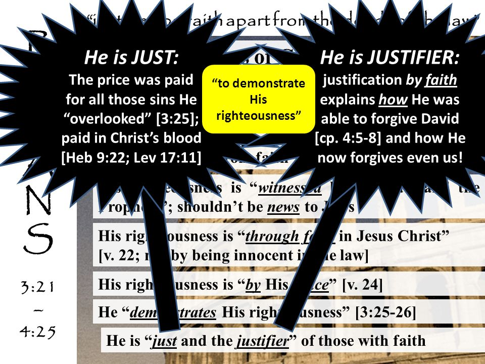 the righteousness of God [3:21-26] righteousness is from the same Greek root as justified [3:20, 24]; Gods justice is in view His righteousness is now