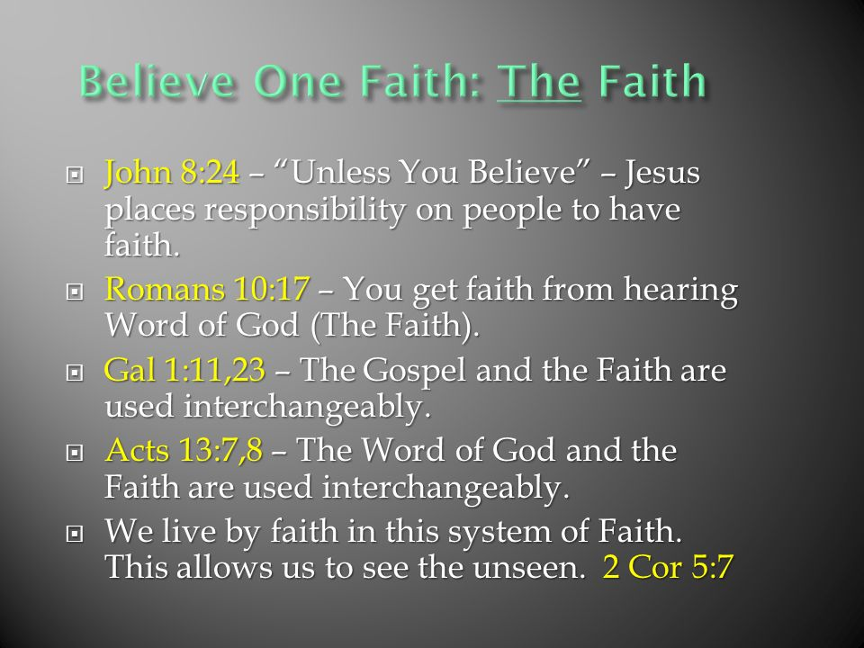 John 8:24 – Unless You Believe – Jesus places responsibility on people to have faith.