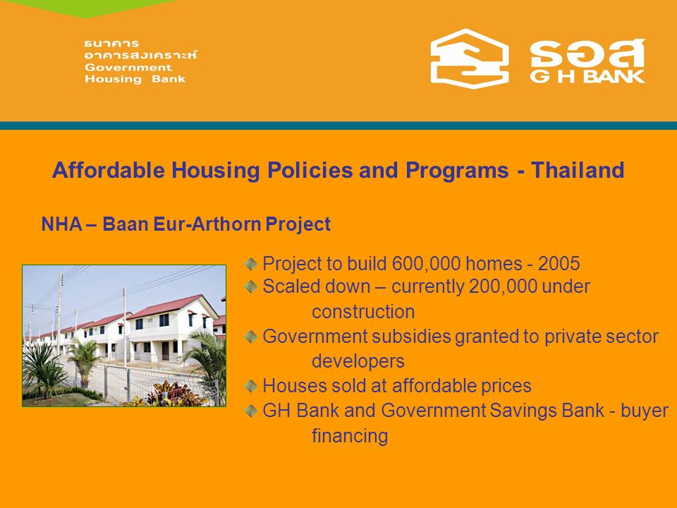 Affordable Housing Policies and Programs - Thailand Project to build 600,000 homes - 2005 Scaled down – currently 200,000 under construction Government subsidies granted to private sector developers Houses sold at affordable prices GH Bank and Government Savings Bank - buyer financing NHA – Baan Eur-Arthorn Project