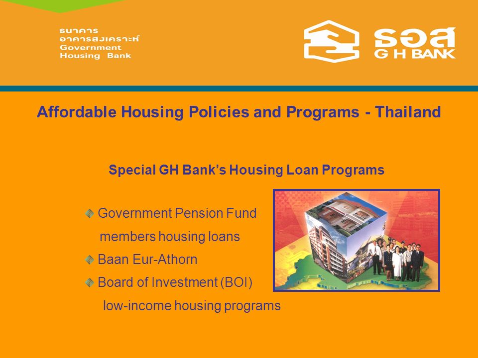 Affordable Housing Policies and Programs - Thailand Government Pension Fund members housing loans Baan Eur-Athorn Board of Investment (BOI) low-income housing programs Special GH Banks Housing Loan Programs