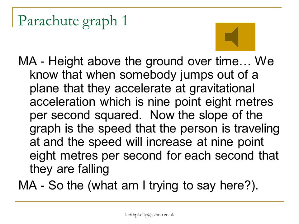 keithpkelly@yahoo.co.uk Parachute graph 1 MA - Height above the ground over time… We know that when somebody jumps out of a plane that they accelerate at gravitational acceleration which is nine point eight metres per second squared.