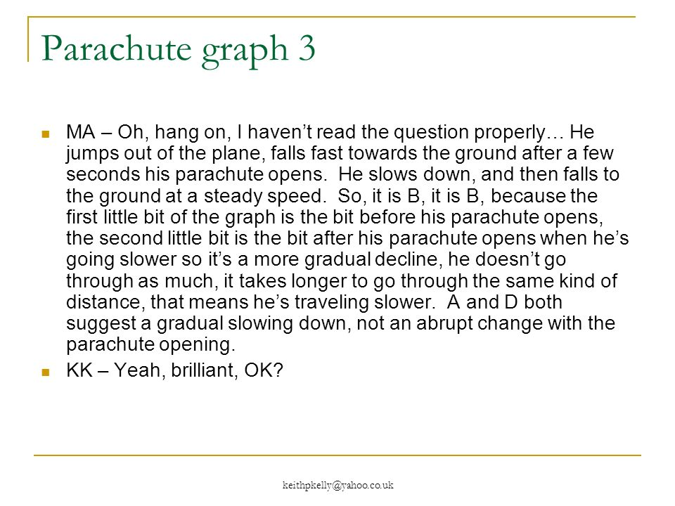 keithpkelly@yahoo.co.uk Parachute graph 3 MA – Oh, hang on, I havent read the question properly… He jumps out of the plane, falls fast towards the ground after a few seconds his parachute opens.