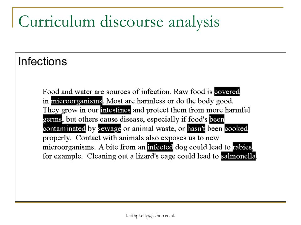 Curriculum discourse analysis Infections