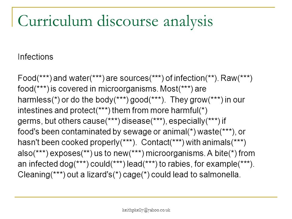 keithpkelly@yahoo.co.uk Curriculum discourse analysis Infections Food(***) and water(***) are sources(***) of infection(**).