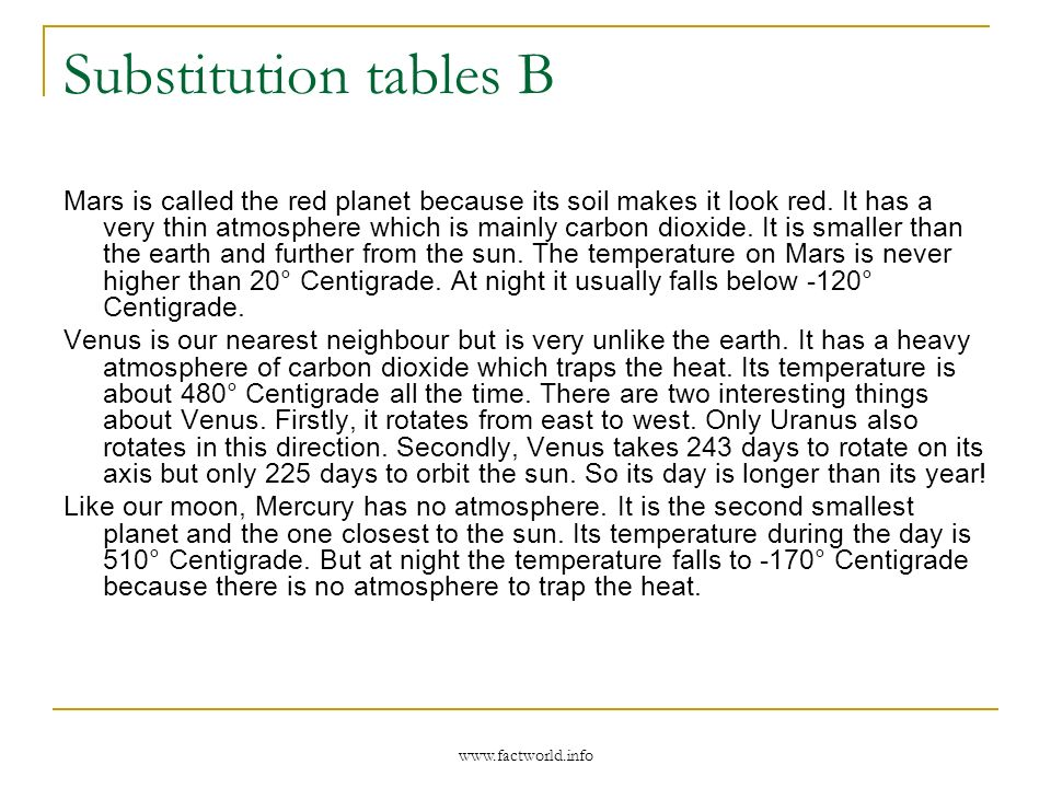 www.factworld.info Substitution tables B Mars is called the red planet because its soil makes it look red.