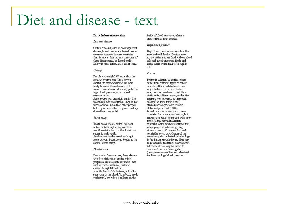 www.factworld.info Diet and disease - text