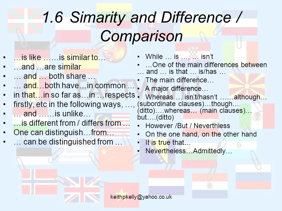 1.6Simarity and Difference / Comparison …is like ……is similar to… …and …are similar … and … both share … … and…both have…in common … in that…in so far as…in …respects firstly, etc in the following ways, …, … and ……is unlike… …is different from / differs from … One can distinguish…from… … can be distinguished from … While … is …, … isnt …One of the main differences between … and … is that … is/has … The main difference… A major difference… Whereas … isnt/hasnt ……although… (subordinate clauses)…though… (ditto)….whereas… (main clauses)… but….(ditto) However /But / Neverthless On the one hand, on the other hand It is true that… Nevertheless…Admittedly…