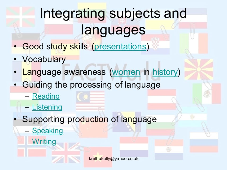 Integrating subjects and languages Good study skills (presentations)presentations Vocabulary Language awareness (women in history)womenhistory Guiding the processing of language –ReadingReading –ListeningListening Supporting production of language –SpeakingSpeaking –WritingWriting
