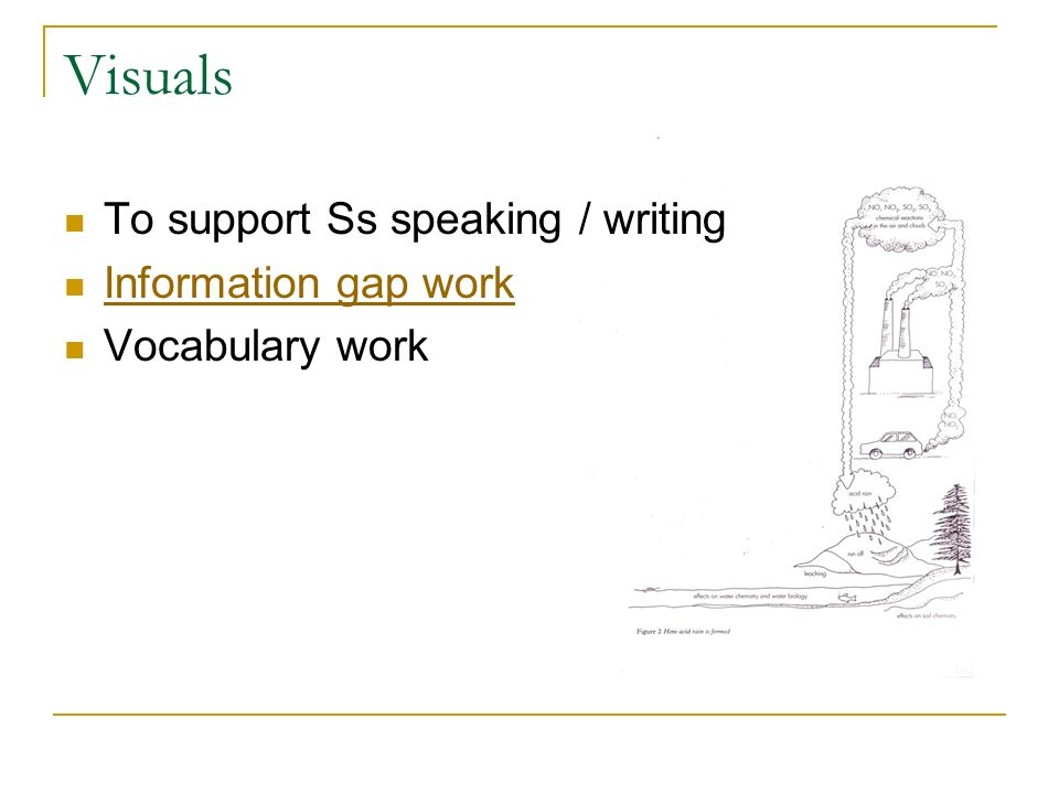Visuals To support Ss speaking / writing Information gap work Vocabulary work