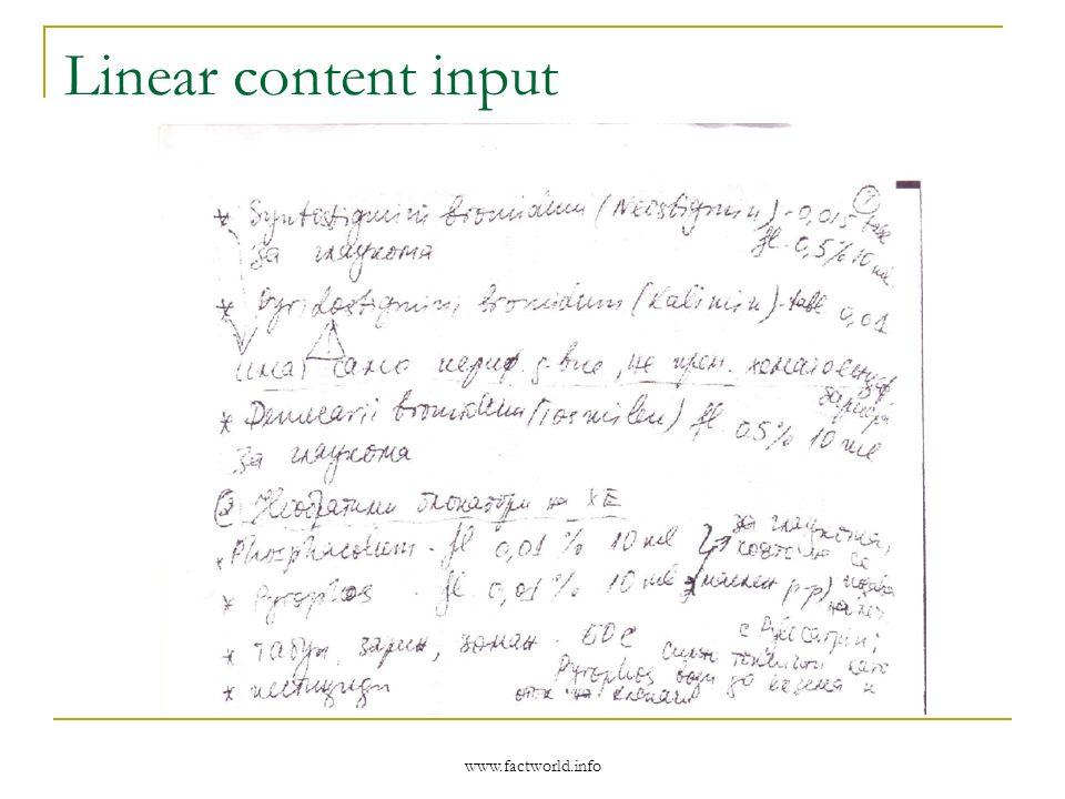 www.factworld.info Linear content input