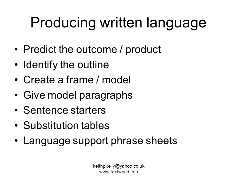 Producing written language Predict the outcome / product Identify the outline Create a frame / model Give model paragraphs Sentence starters Substitution tables Language support phrase sheets