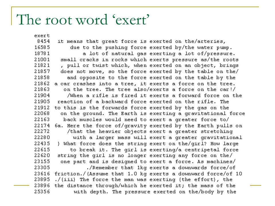 The root word exert