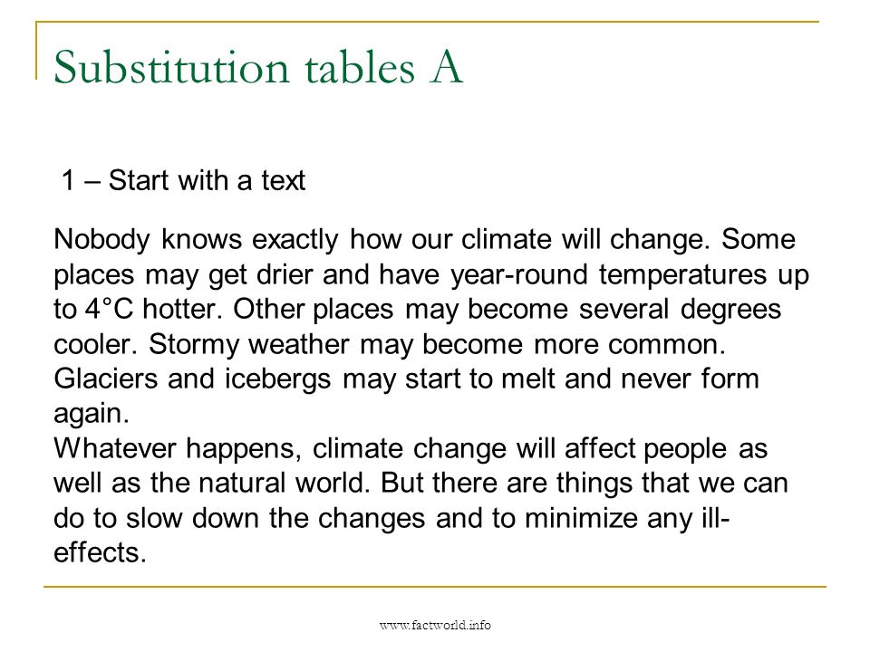 Substitution tables A 2 - Identify core sentences Some places may get … Some places may have year-round… Other places may become … Stormy weather … Glaciers and icebergs … 3 - Organise them for use with tasks Some places Other places Stormy weather Glaciers and icebergs may become more common get drier become several degrees cooler have year-round temperatures up to 4°C hotter start to melt www.factworld.info