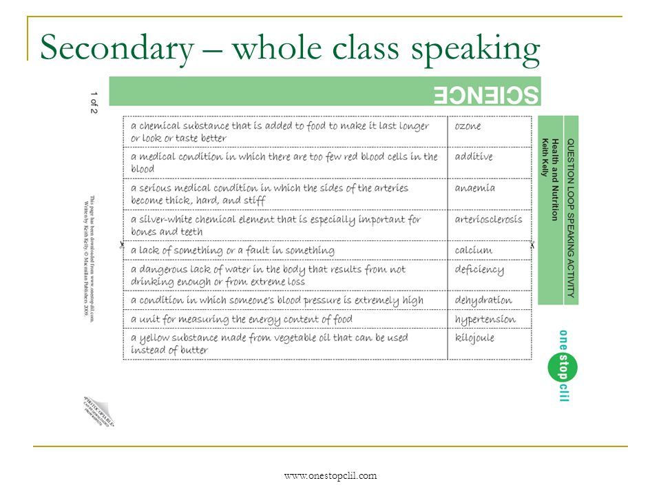 www.onestopclil.com Secondary – whole class speaking