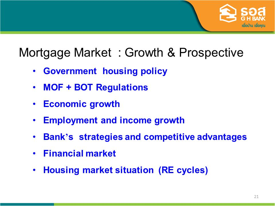 21 Mortgage Market : Growth & Prospective Government housing policy MOF + BOT Regulations Economic growth Employment and income growth Bank s strategi