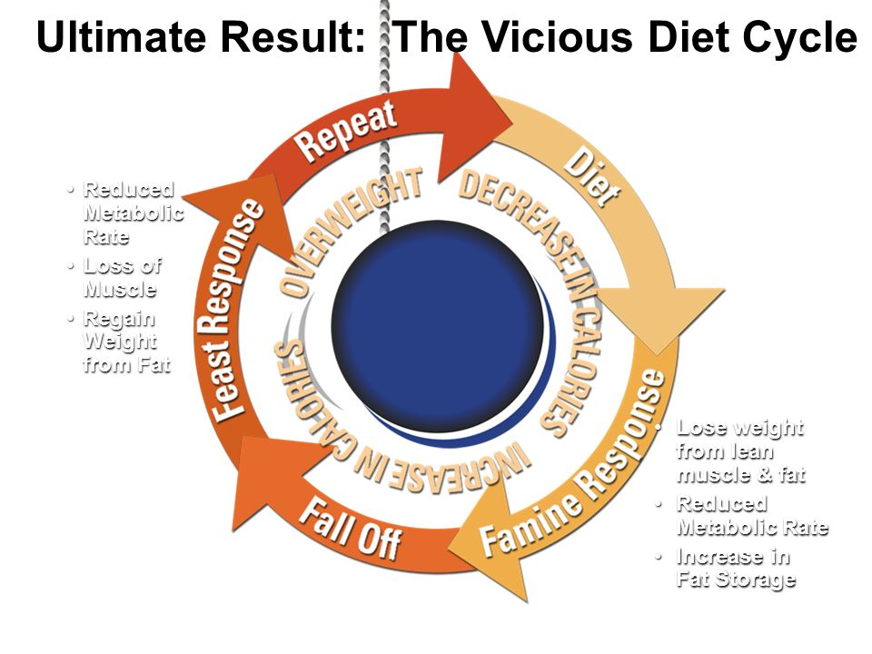 Reduced Metabolic Rate Loss of Muscle Regain Weight from Fat Reduced Metabolic Rate Loss of Muscle Regain Weight from Fat Lose weight from lean muscle & fat Reduced Metabolic Rate Increase in Fat Storage Lose weight from lean muscle & fat Reduced Metabolic Rate Increase in Fat Storage Ultimate Result: The Vicious Diet Cycle