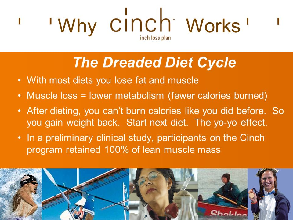 The Dreaded Diet Cycle With most diets you lose fat and muscle Muscle loss = lower metabolism (fewer calories burned) After dieting, you cant burn calories like you did before.