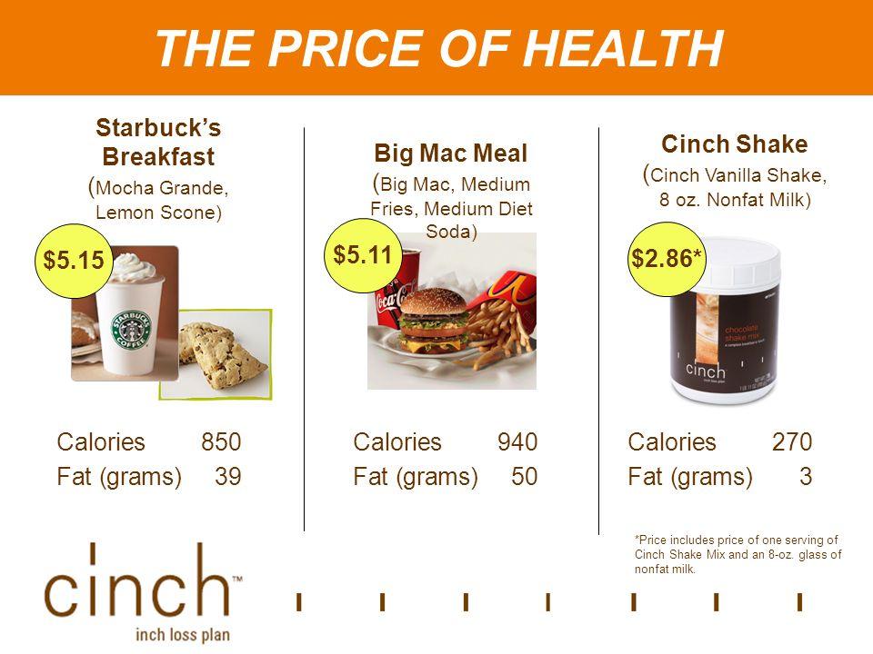 The Price of Health Starbucks Breakfast ( Mocha Grande, Lemon Scone) Big Mac Meal ( Big Mac, Medium Fries, Medium Diet Soda) Cinch Shake ( Cinch Vanilla Shake, 8 oz.