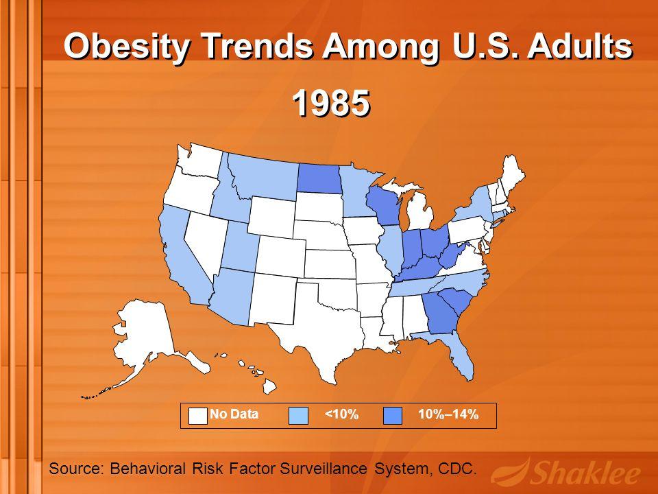 No Data <10% 10%–14% 1985 Source: Behavioral Risk Factor Surveillance System, CDC.