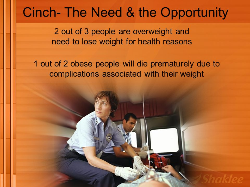 1 out of 2 obese people will die prematurely due to complications associated with their weight Cinch- The Need & the Opportunity 2 out of 3 people are overweight and need to lose weight for health reasons