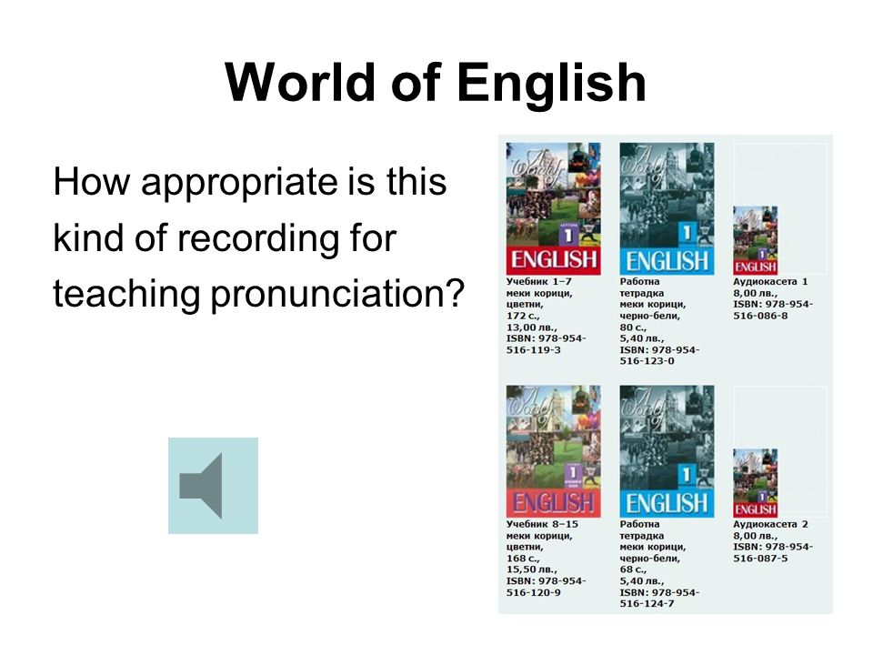 World of English How appropriate is this kind of recording for teaching pronunciation?