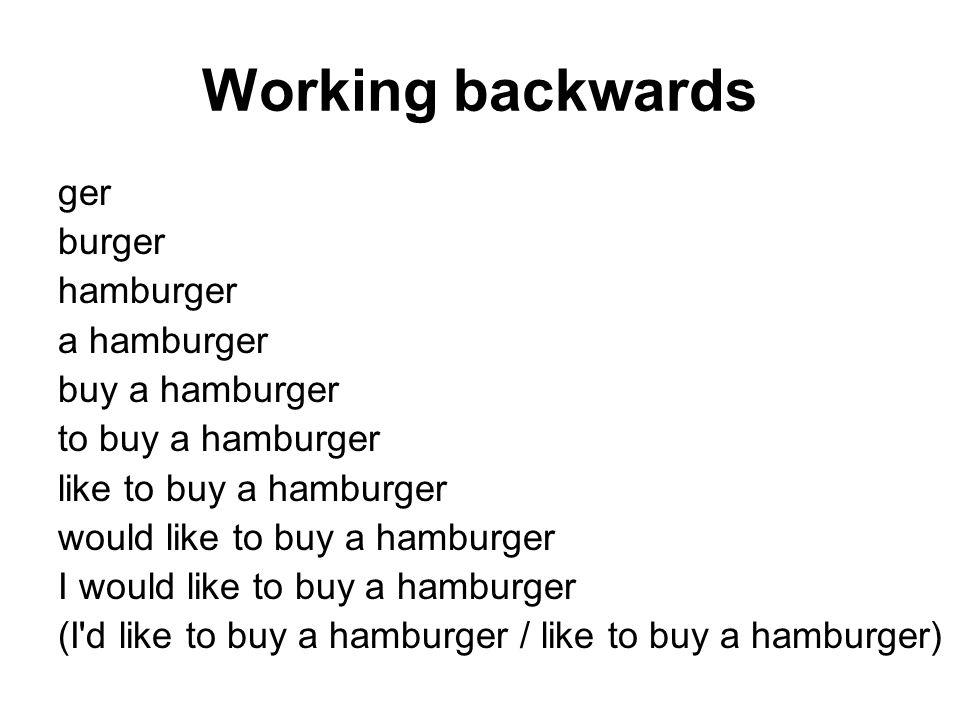 Working backwards ger burger hamburger a hamburger buy a hamburger to buy a hamburger like to buy a hamburger would like to buy a hamburger I would like to buy a hamburger (I d like to buy a hamburger / like to buy a hamburger)