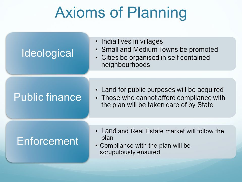 Axioms of Planning India lives in villages Small and Medium Towns be promoted Cities be organised in self contained neighbourhoods Ideological Land for public purposes will be acquired Those who cannot afford compliance with the plan will be taken care of by State Public finance Land and Real Estate market will follow the plan Compliance with the plan will be scrupulously ensured Enforcement