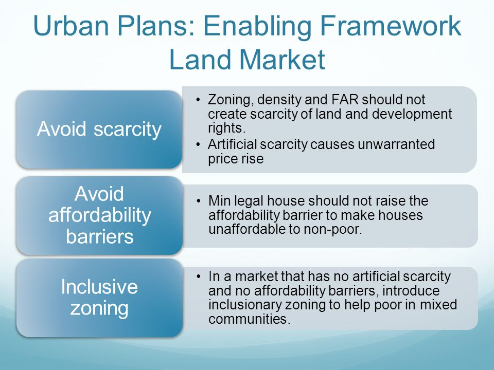 Urban Plans: Enabling Framework Land Market Zoning, density and FAR should not create scarcity of land and development rights.
