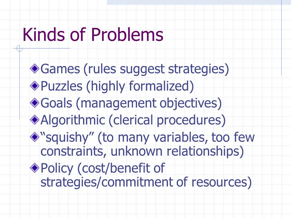 Kinds of Problems Games (rules suggest strategies) Puzzles (highly formalized) Goals (management objectives) Algorithmic (clerical procedures) squishy (to many variables, too few constraints, unknown relationships) Policy (cost/benefit of strategies/commitment of resources)